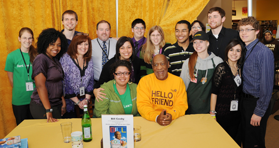"Bill Cosby and the Barnes & Noble at Rowan University bookstore staff at the book signing event for, ""I Didn't Ask to Be Born."" Photo by Curtis Brown"
