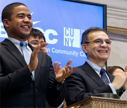 BMCC student Jorge Minor and BMCC President Dr. Antonio Perez celebrate the ringing the Opening Bell on the NY Stock Exchange.