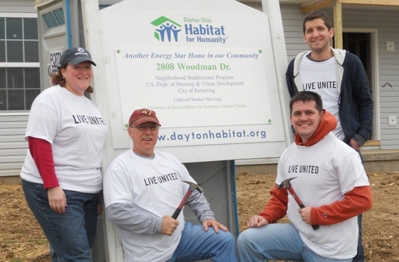 Barnes & Noble College employees participated in Make a Difference Day Ohio and volunteered on a Habitat for Humanity site in Dayton, Ohio. Left to right: Wright State University Bookstore Manager Jennifer Gebhart, Franklin University Bookstore Manager Dave Ricketts, Urbana University Bookstore Manager Eric Lathem and Wittenberg University Bookstore Manager Tim Gognat.