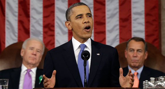 President Obama delivering the 2013 State of the Union Address to Congress.