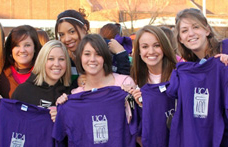 University of Central Arkansas students show their UCA Bear pride.