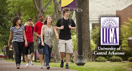 University of Central Arkansas students stroll across UCA campus.