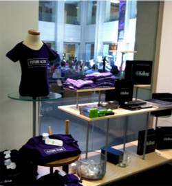 Kellogg-branded merchandise displayed in the Jacobs Center store.