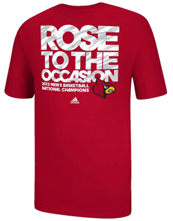 The University of Louisville 'Rose to the Occasion' championship t-shirt sold in the bookstore.