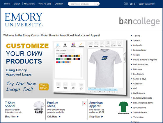 Ordering custom apparel, branded goods and other items for school groups and clubs is easy. Simply visit your Barnes & Noble College Bookstore website and click on the Promoversity icon.