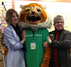 SUNY Cobleskill Bookstore Manager Jeri Usatch (left) poses with the school's mascot and Barnes & Noble College Regional Manager Debbie Parker.