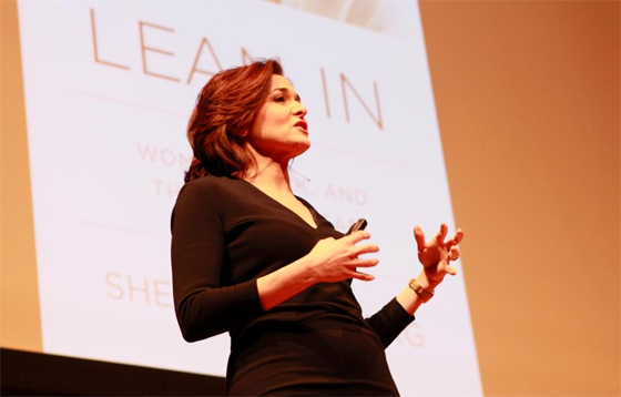 "Sheryl Sandberg, Facebook COO and author of ""Lean In,"" speaks at Sanders Theatre at Harvard University at an event organized by Harvard Undergraduate Women in Business."