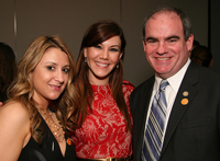 Samantha Mochel and Shannon Albers of Barnes & Noble College pose with WVU Bookstore Manager David Lang at the Shorty Awards.