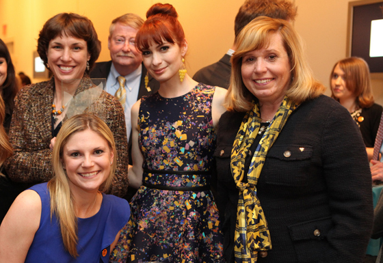 West Virginia University and Barnes & Noble College representatives pose at a reception for the 2013 Shorty Awards with host Felicia Day. From left to right, WVU Assistant Editor, University Relations, Sarah Gould; Barnes & Noble College Consumer & New Media Marketing Manager Tamara Vostok (front), Barnes & Noble College VP, Stores Chris Peterson; Felicia Day; and Cathy Orndorff, WVU Director, University Relations.