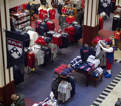 Interior of the Penn Bookstore showing emphasizing its school colors.
