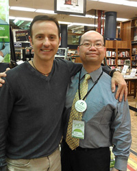 Olympic great Brian Boitano with Barnes & Noble Bookstore Manager Jason Chan.