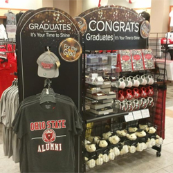 A graduation pop-up in The Ohio State University Bookstore, filled with gifts for graduates.