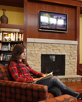 omfortable chairs, fireplace and flatscreen TV at the New Mexico State University Bookstore in Las Cruces, N.M.