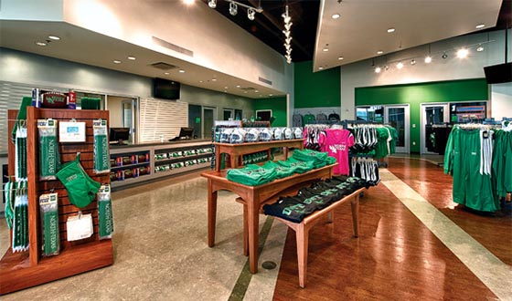Interior of the new UNT Stadium Store at Apogee Stadium in Denton, Texas