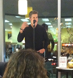 "Jon Acuff, author of ""Start: Punch Fear in the Face, Escape Average and Do Work that Matters,"" speaks at the Barnes & Noble at Vanderbilt bookstore."