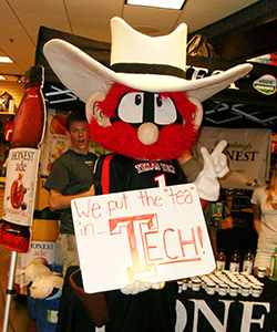 Raider Red, the Texas Tech mascot, made an appearance at the 'Barnes & Noble Night' at the Texas Tech Bookstore in Lubbock, Texas.