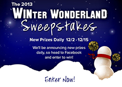 Barnes & Noble College email that announces the WINter Wonderland Sweepstakes for the 2013 holiday season.