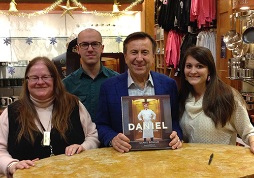 Chef and restauranteur Daniel Boulud poses with the staff of the Craig Claiborne Booksotre. Right to left: Lori Aquino, Nathan Cervoni, Daniel Boulud and Manager Christina Ringel