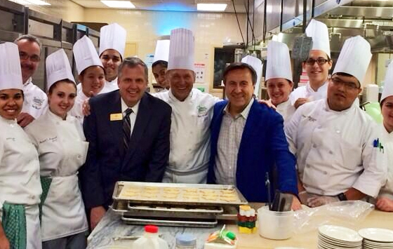 Chef and restaurenteur Daniel Boulud (in blue blazer without tie), poses with students at the Culinary Institute of America (CIA) in Hyde Park, N.Y.