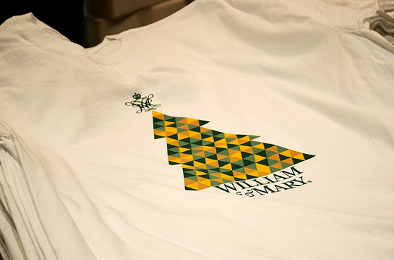 A close-up detail of the 2013 William & Mary Night t-shirt that was handed out to the first 400 guests to donate three or more canned goods.