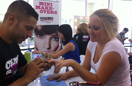 A student gets a mini-manicure at the University of South Florida Bookstore in Tampa, Florida.