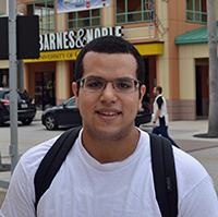 UCF junior Felix Guerrero stands outside the Barnes & Noble at UCF Bookstore in Orlando, Florida.