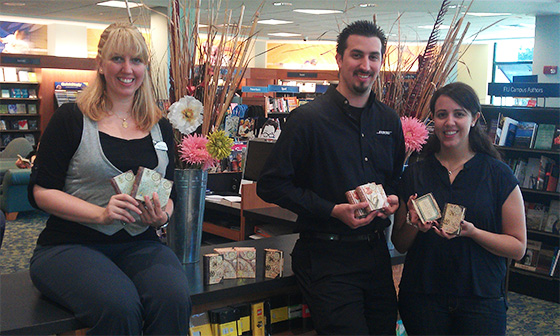 Then Trade Supervisor Crystal Jarrouge, Trade Supervisor, helped Cristina del Busto and Jonatan Albernaz find and order the perfect wedding favors.