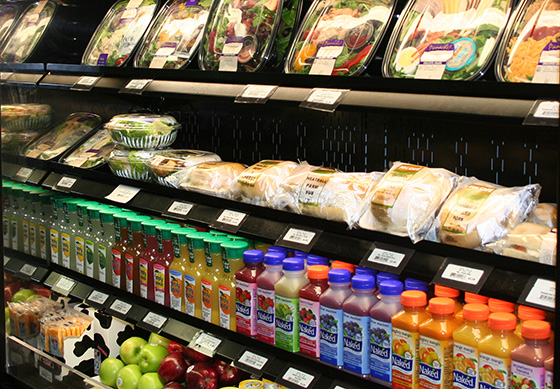 Fresh salads, sandwiches, fruit and beverage items offered in the University District Bookstore in Camden, N.J.
