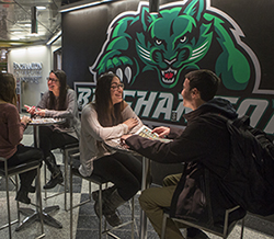 The Binghamton University mascot, the Bearcat, graces the outside wall of the bookstore where students can meet.