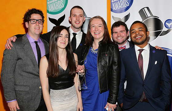 Boston University Assistant Dean Micha Sabovik (center) and members of the COM social media team pose at the 2014 Shorty Awards.