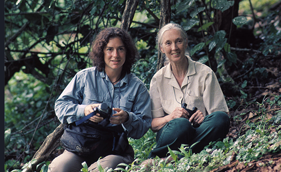 Primatologist Jane Goodall and Franklin & Marshall Assistant Professor of Psychology Elizabeth Lonsdorf at a research station in Gombe National Park in Tanzania.