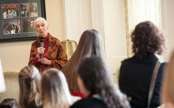 During her visit to Franklin & Marshall College, primatologist Jane Goodall met with students, staff and faculty. (Photo by Melissa Hess)