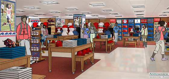 An artist's rendering of the interior of the Barnes & Noble at Howard University bookstore.