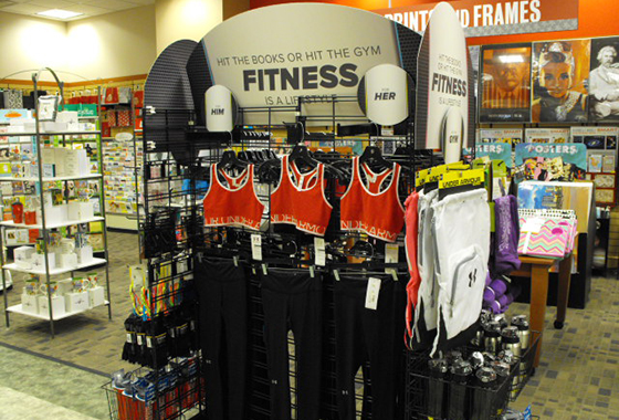 Performance apparel display in the Barnes & Noble - The Ohio State University Bookstore in Columbus, Ohio.