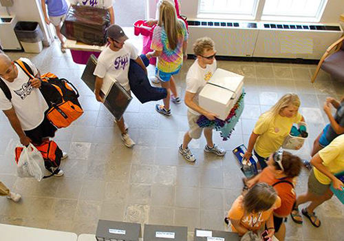 Incoming freshmen move their belongings into a dorm on Great Move in Day on the campus of Tennessee Tech.