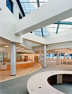 The 90,237 square foot integrated Learning Resources Center includes a Library, a Learning Center, and an AV/Media and Instructional Materials Development Center.