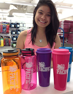 University of the Pacific student Nikki Yee-Martinez admires the Hello Kitty merchandise in the bookstore. Yee-Martinez had requested the merchandise after visiting a friend at another school and seeing the school-branded products.