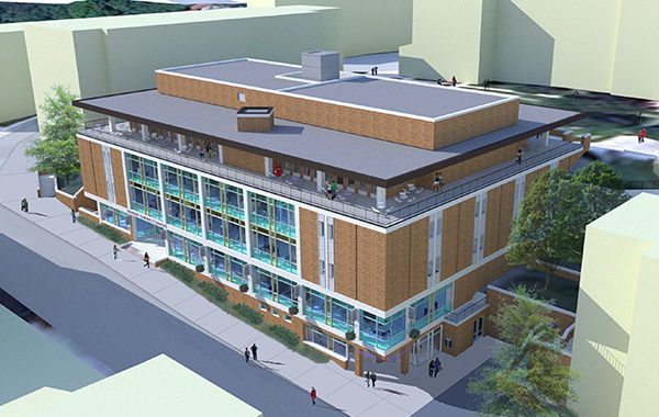 Architect's rendering of Carlow University's planned University Commons.