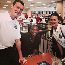 Heisman Trophy winner and Ohio State alumni Eddie George makes an appearance at the Barnes & Noble at The Ohio State University bookstore.