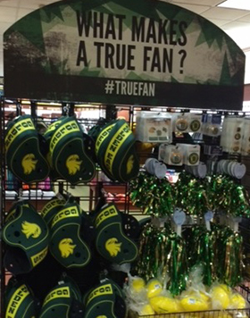True Fan in-store display at the College at Brockport campus bookstore.