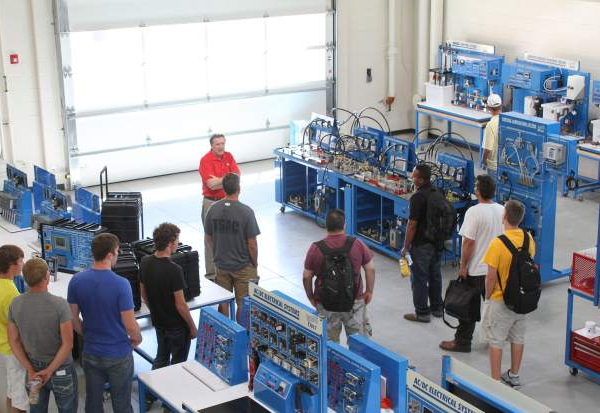 New students are given a lab orientation in the Aims Community College oil and gas program at the college's Fort Lupton campus.