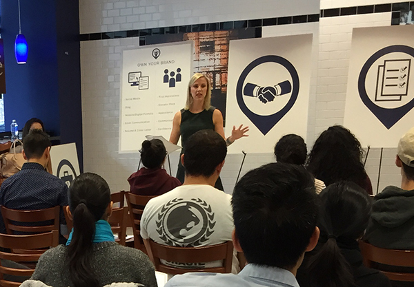 Millennial expert Joan Kuhl speaks at Baruch College as part of the Jump Start Your Career Now seminars designed to help students who are looking for career mentoring and advice.