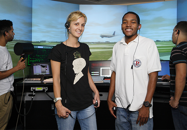 Broward College air traffic control students who are part of the school's aviation program.