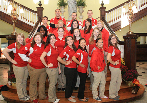 Chestnut Hill College student orientation leaders on the Philadelphia campus.