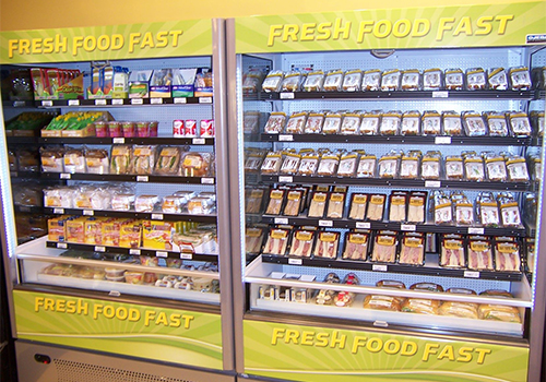 A display case in convenience section of The University Bookstore at Cal State LA offers freshly prepared sandwiches, salads, yogurts and beverages.