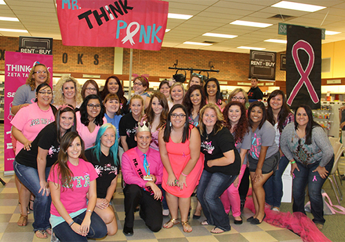 Members of the Eastern New Mexico University chapter of Zeta Tau Alpha (ZTA) pose at the Mr. Think Pink pageant. The event helped raised money for breast cancer research.