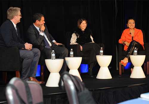 Bill Brand, chief marketing officer with HSNi; Stephen Sadove, chairman and CEO (retired) of Saks Inc.; Karen Katz, president and CEO of The Neiman Marcus Group Inc.; and Jane Park, founder and CEO of Julep participated in the CEO panel discussion on careers in retail.