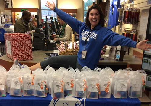 Gift bags were handed out to students who attended the De-Stress Fest at the Saint Louis University Bookstore.