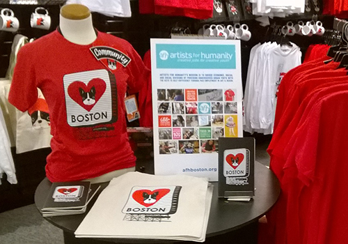 "A ""Good That Do Good"" display table in the Barnes & Noble at Boston University bookstore. The collection of clothing and gifts is produced by companies that help under-served youth and artisans in Boston and around the world."