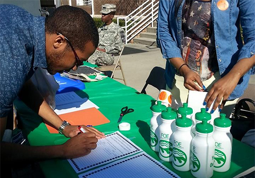 """Students particpating at Claflin University's """"Green It & Mean It"""" day, a campus-wide recylcing celebration that supports Claflin's sustainability efforts on campus."""